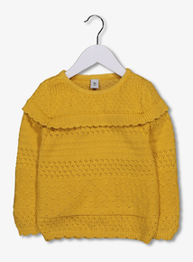Mustard Knitted Jumper With Frill (9 months-6 years)