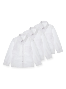 Unisex White Long-Sleeved Shirts 3 Pack (3-16 years)