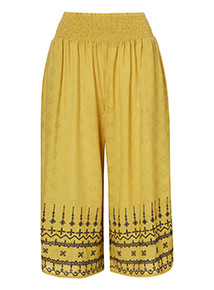 Schiffli Hem Embroidered Crop Trousers