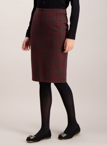Multicoloured Check Jersey Pencil Skirt