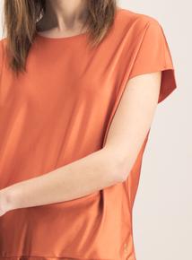 Active Orange Cap Sleeve Satin Top