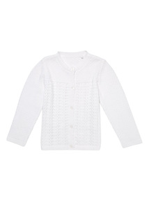 White Pointelle Cardigan (0 - 12 months)