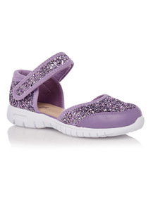 Girls Purple Glitter 2 Part Flexi Trainer