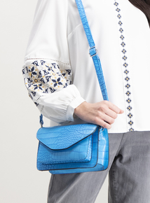Online Exclusive Bright Blue Mock Croc Cross Body Bag