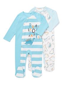 2 Pack Blue Dinosaur Sleepsuits (Newborn-24 months)