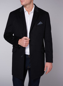 Admiral Black Wool Rich Velvet Collar Overcoat