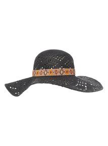Black Aztec Floppy Hat