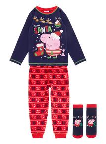 Blue George Pig Christmas Pyjama Set