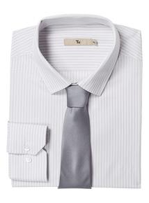 Grey Striped Shirt With Tie