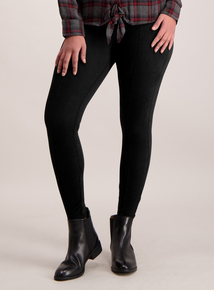 Black Jersey Cord Leggings