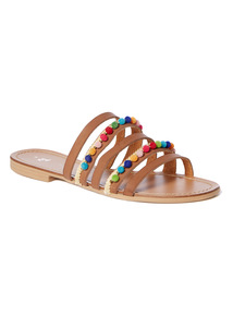 Pom Pom Flat Mule Sandals
