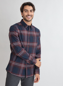 Premium Navy & Aubergine Slim Fit Check Shirt