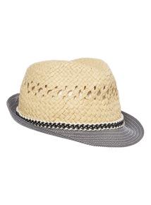 Multicoloured Stripe Brim Trilby Hat