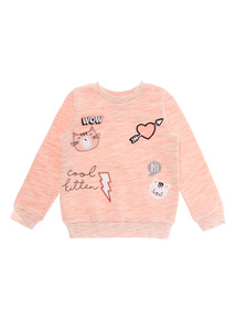 Pink Kitten Badge Sweater (9 months - 6 years)