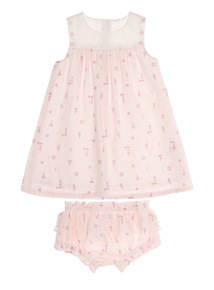 Pink Stripe Dress With Knickers (0 - 12 months)