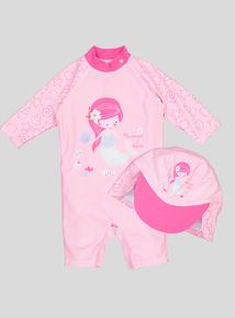 Pink Mermaid Sunsafe and Hat Set (0-36 months)