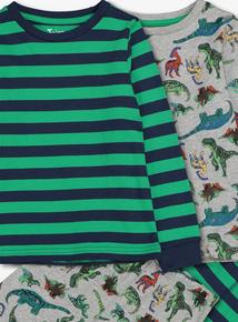 Multicoloured Dinosaur Pyjamas 2 Pack (18 Months - 12 Years)