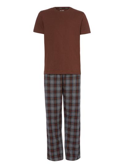 Brown Short Sleeve Tee and Check Trouser Pyjama Set