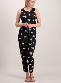 Black Cheetah Print Jumpsuit