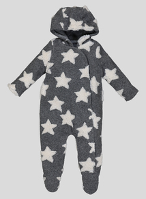 Grey Star Hooded All In One (Newborn - 12 months)