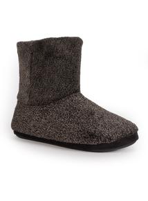 Grey & Black Flecked Slipper Boot