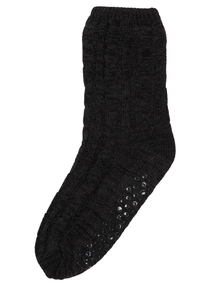 Charcoal Chunky Cable Slipper Socks