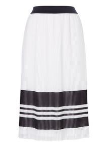 Mono Pleated Stripe Skirt