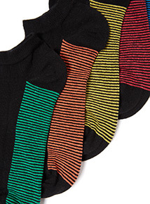 5 Pack Black Fine Stripe Stay Fresh Trainer Socks