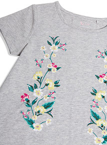 Grey Flower Embroidered T-Shirt (3-14 years)