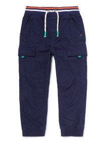 Navy Stripe Ribbed Waist Cargo Trousers (9 months-6 years)