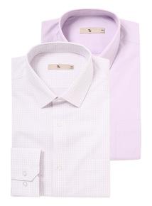 Lilac Easy Iron Check Shirts