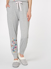 Grey Embroidered Floral PJ Trousers