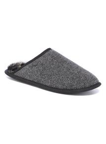 Grey Herringbone Mule Slipper