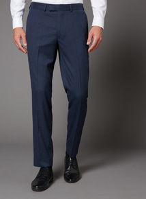 Blue Melange Slim Fit Suit Trouser