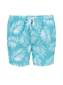 Green Mint Leaf Print Board Shorts