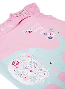 Pink Elephant Print T-shirt (0-24 months)
