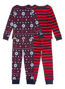 Red Two Pack Fairisle Pyjamas (1-12 years)