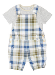Boys Multicoloured Check Bibshort And Bodysuit Set (0 - 24 months)