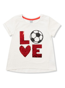 White 'LOVE' Football Sequinned T-Shirt (9 months - 6 years)