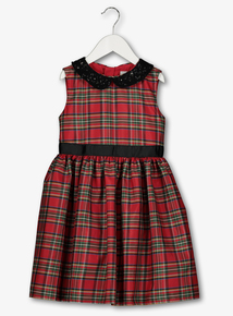 Red Tartan Sequin Collar Dress (9 Months-6 Years)