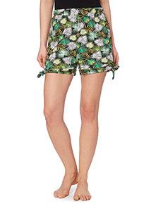 Tie Side Palm Pattern Shorts