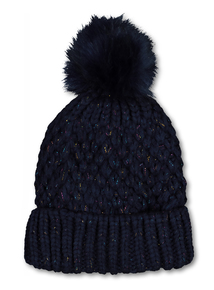 Navy Sparkle Pom Pom Hat