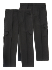 Boys Charcoal Cargo Trousers 2 Pack (3-12 Years)