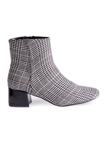 Monochrome Block Heel Ankle Boots