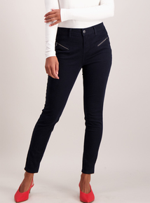 Navy Zip Detail Brushed Twill Skinny Fit Trouser