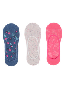 3 Pack Floral Footsie Socks