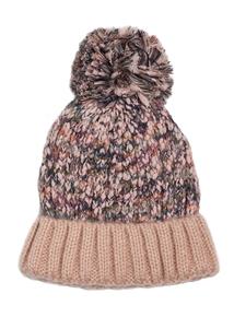 Pink Multicoloured Pom-Pom Beanie Hat