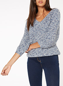 Ribbed V Neck Jumper