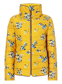Yellow Floral Printed Padded Short Jacket