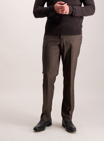 Brown Check Tailored Fit Trousers